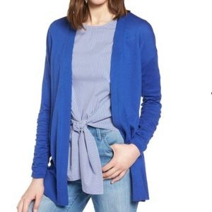Halogen Ruched Sleeve Cardigan in Marine Blue NWT